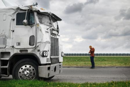 truck driver calling for help after accident