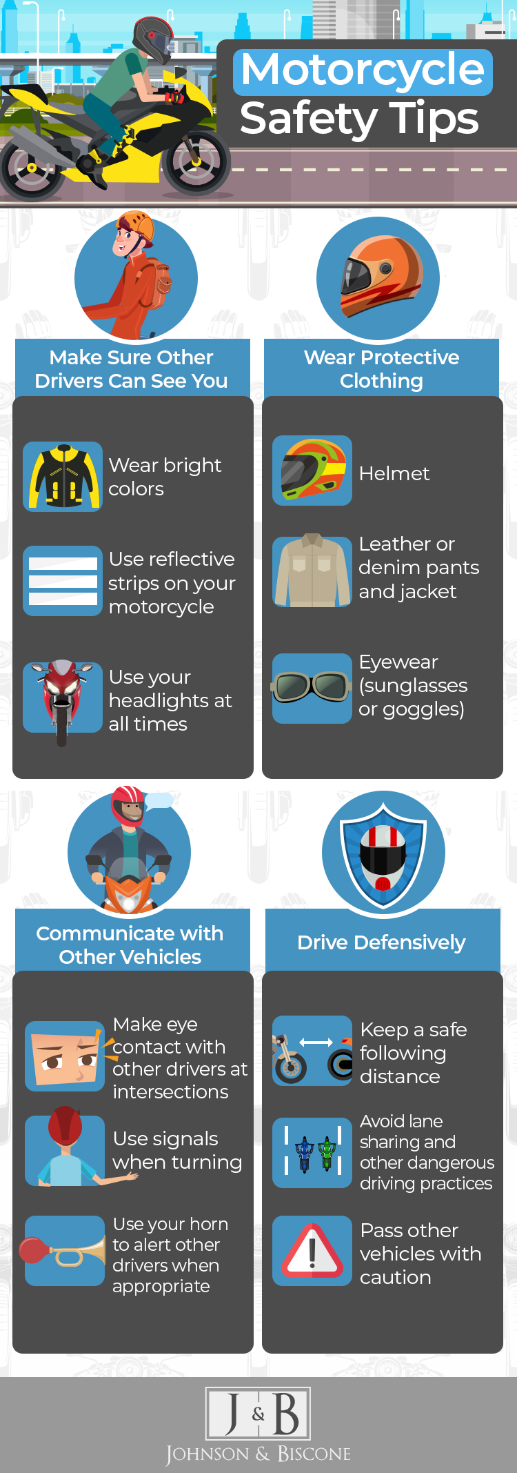 infographic discussing motorcycle safety tips