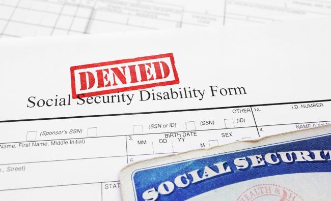 denied Social Security Disability (SSDI) claim form