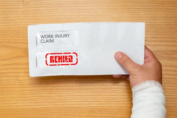 envelope with a denied workers' compensation claim