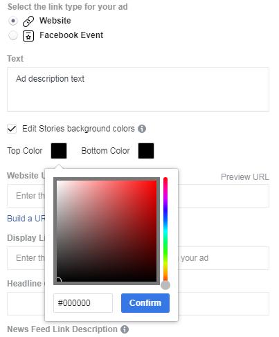 screenshot - creating Facebook Stories ad