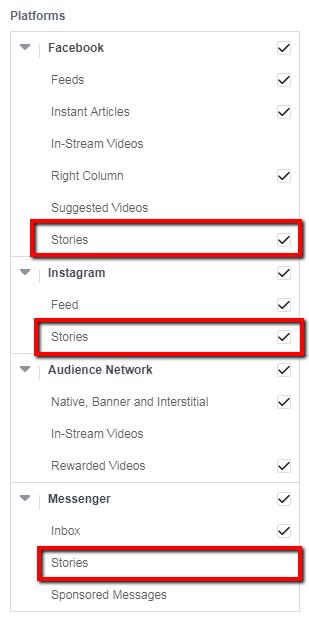 Facebook Stories feed - screenshot
