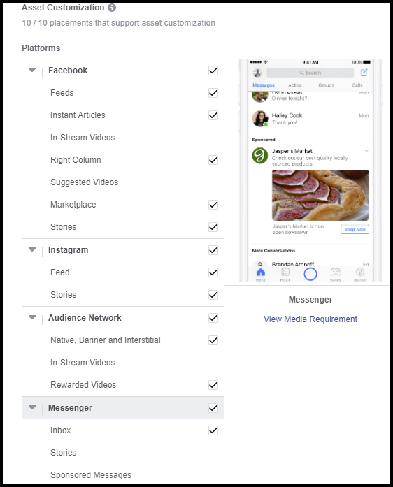 facebook messenger ad placement settings