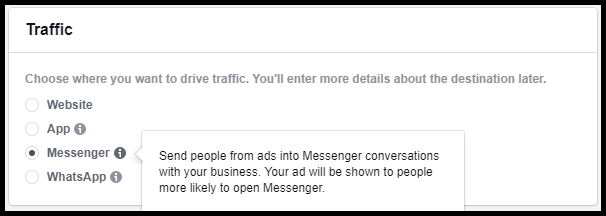 facebook ad destination options
