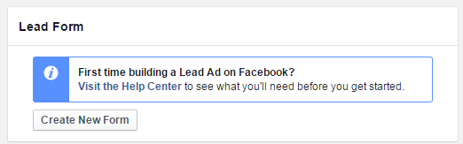 Create a new Facebook Lead Ad