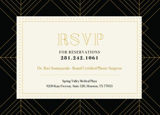 RSVP card for event by Dr. Ravi Somayazula