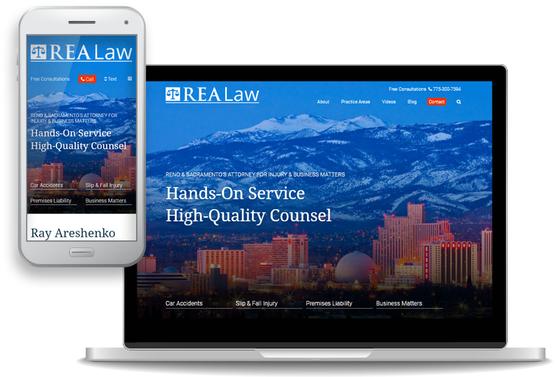 mobile-first custom website for REA Law - attorney Raymond E. Areshenko