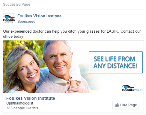 Facebook Likes ad for Foulkes Vision Institute