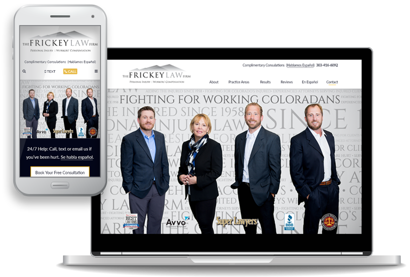 mobile-first website design for Frickey Law Firm