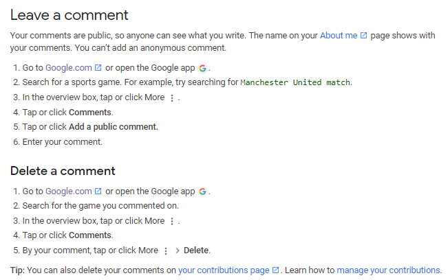 screenshot of instructions to leave a comment and delete a comment on Google search results