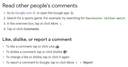 screenshot of instructions to read comments and report comments on Google search results