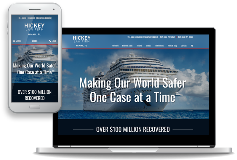 mobile-first custom website design for Hickey Law Firm