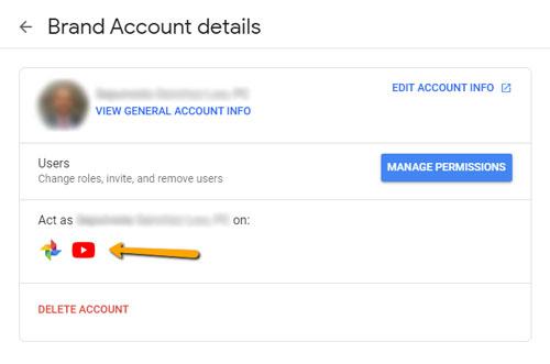 Google Brand Account Interface After GMB Disassociation - November 2019