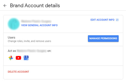 Google Brand Account Interface With Google My Business Association - November 2019