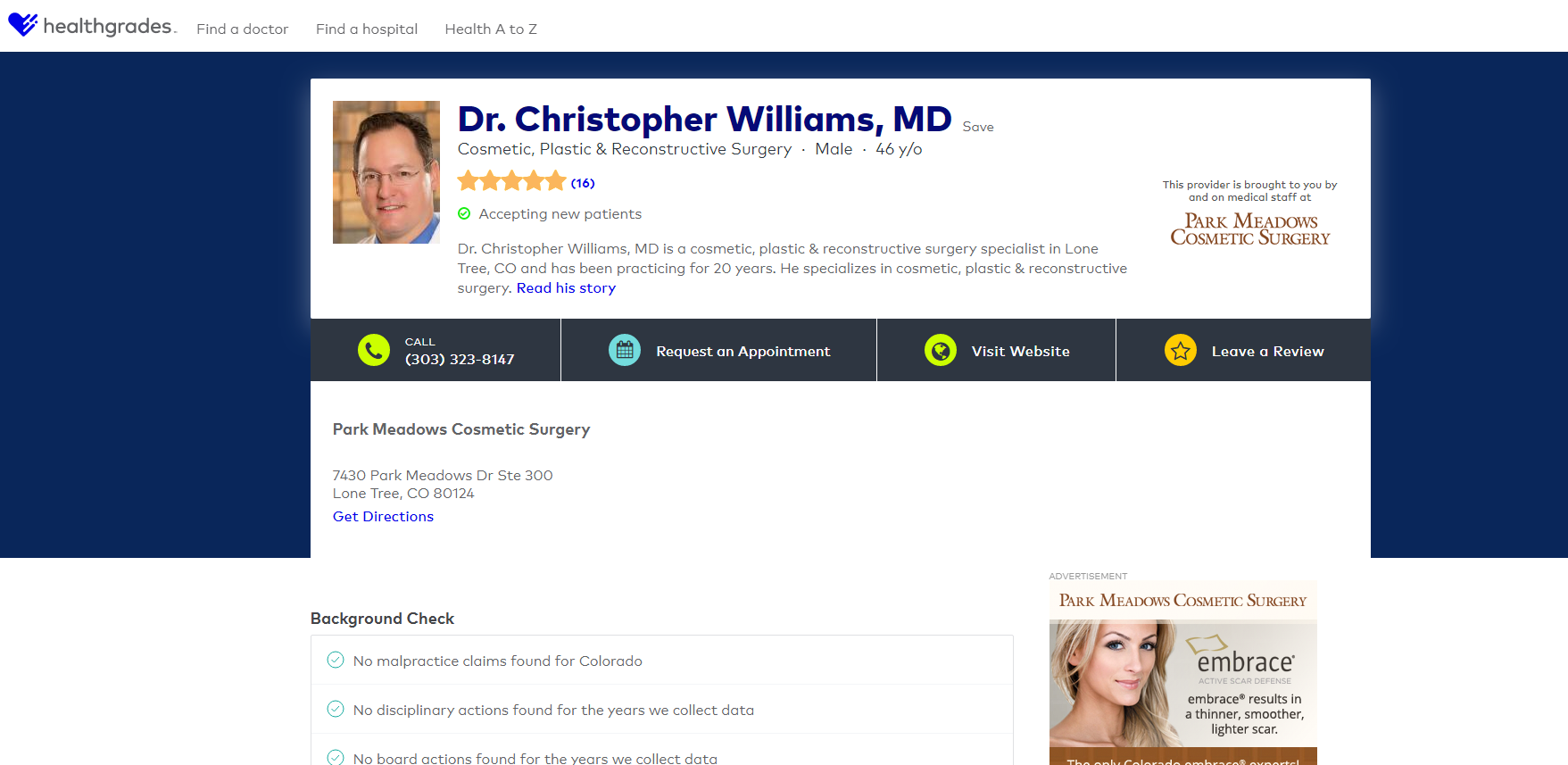 Healthgrades Premium Profile for plastic surgeon