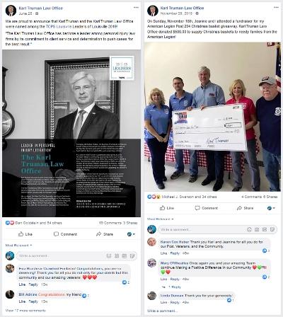 social media marketing for attorneys: Karl Truman Law Office post on Facebook