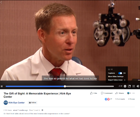 social media marketing for ophthalmologists: Facebook video by Kirk Eye Center