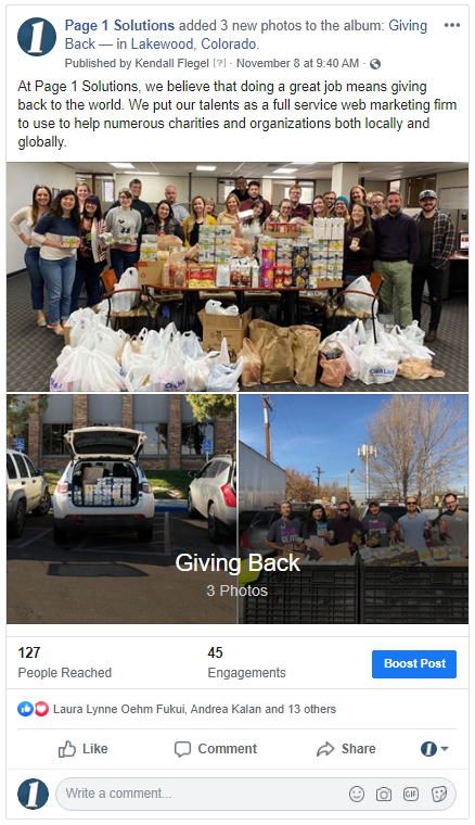 Facebook post showing Page 1 Solutions giving back to the community