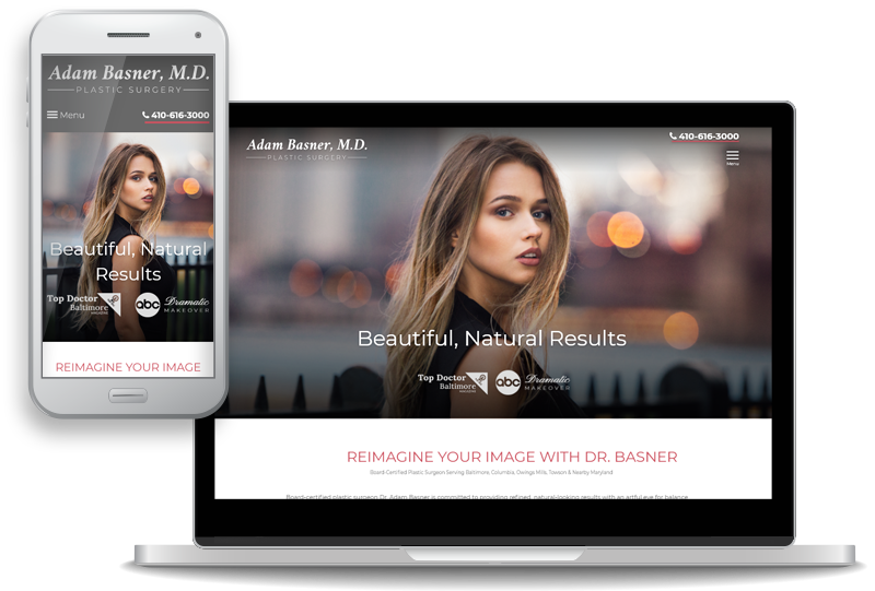 custom mobile-first website design for board-certified plastic surgeon Dr. Adam Basner