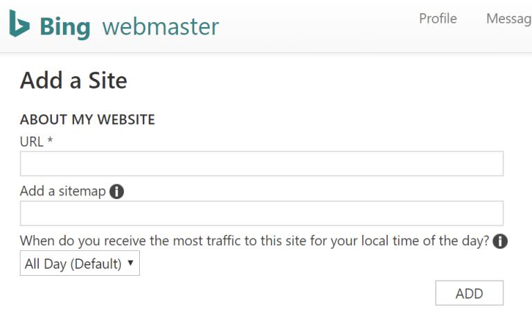 Bing Webmaster - Add a site