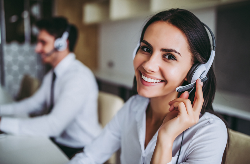 smiling female call center agent