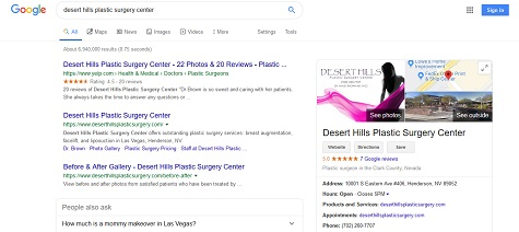 Desert Hills Plastic Surgery Center Google My Business listing in local search results