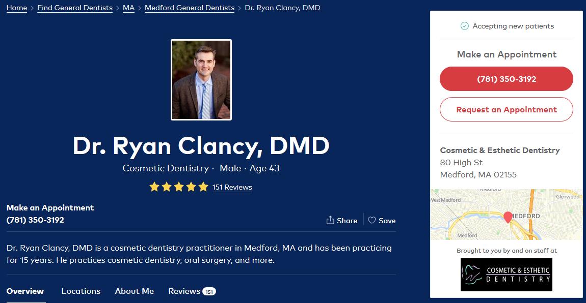 Boston cosmetic dentist Dr. Ryan Clancy - Premium profile on Healthgrades