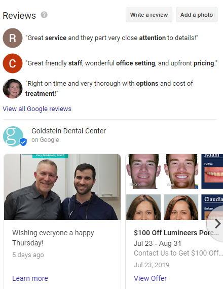Google My Business reviews and posts for Goldstein Dental Center