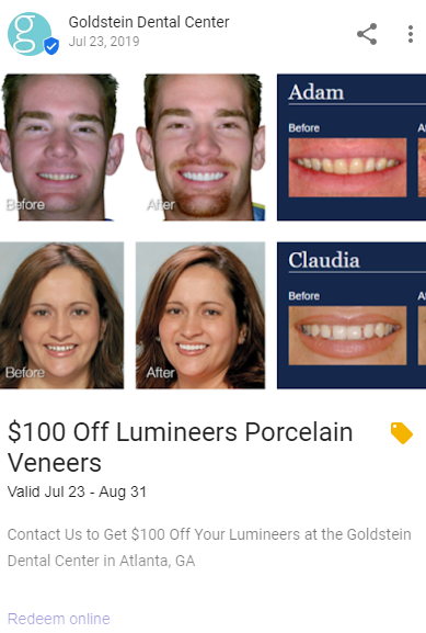 Google Post example: Goldstein Dental Center