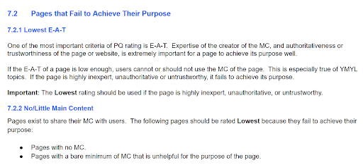 excerpt from Google Quality Raters Guidelines - Pages That Fail to Achieve Their Purpose