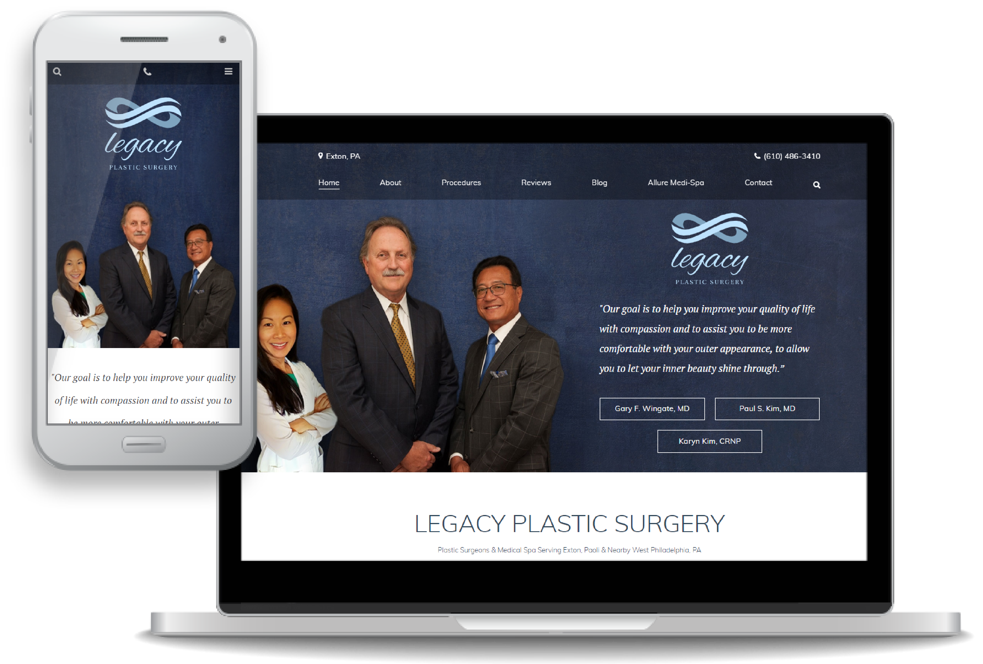 custom website design for Legacy Plastic Surgery