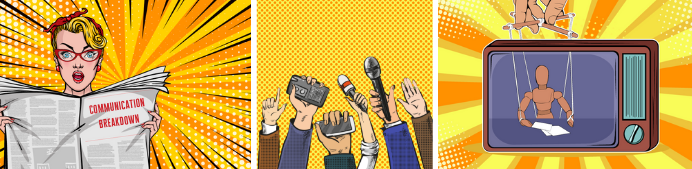 newspaper, TV, and radio communications