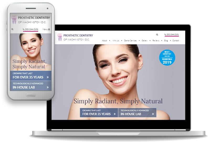 mobile-first custom website design for Prosthetic Dentistry of Washington D.C.