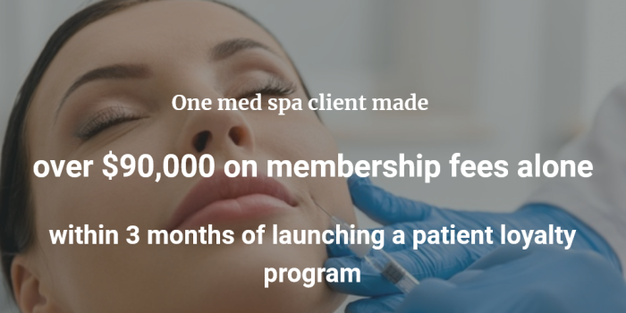 One med spa client made over $90,000 on membership fees alone within 3 months of launching a patient loyalty program.