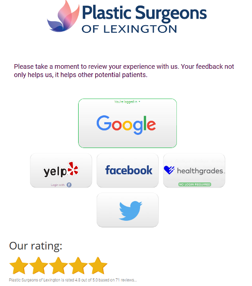 Page 1 Solutions reviews and ratings management platform for Plastic Surgeons of Lexington