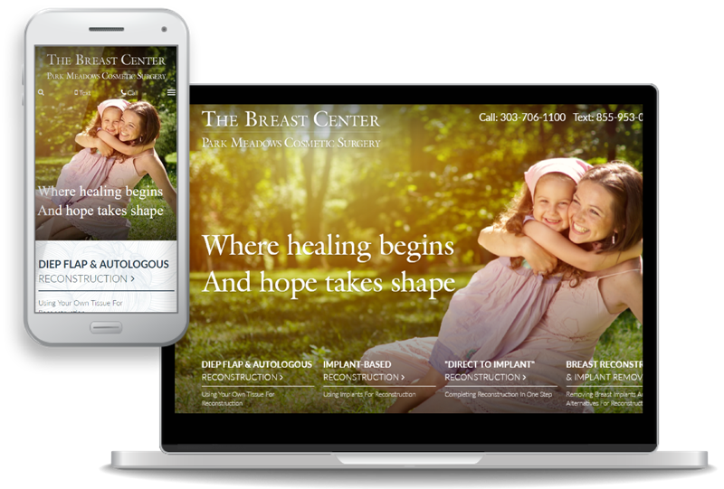 custom website design for The Breast Center Park Meadows Cosmetic Surgery