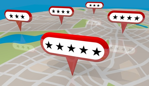 illustration of a map with 5-star reviews