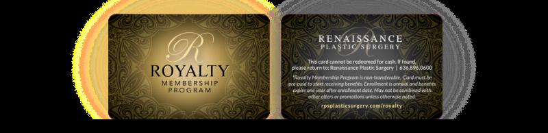 Royalty Program membership cards at Renaissance Plastic Surgery