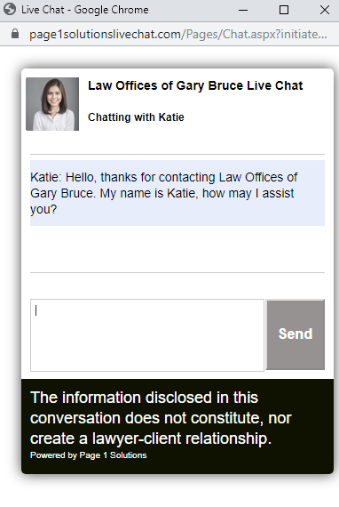 sample online chat - website of the Law Offices of Gary Bruce