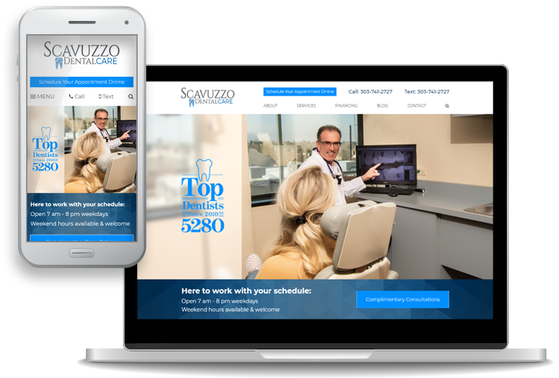 custom website design for Scavuzzo Dental Care
