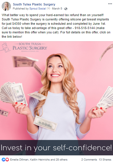 Facebook post for South Tulsa Plastic Surgery