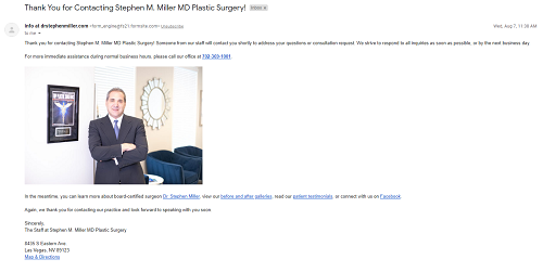 thank-you email example - plastic surgeon Dr. Stephen Miller