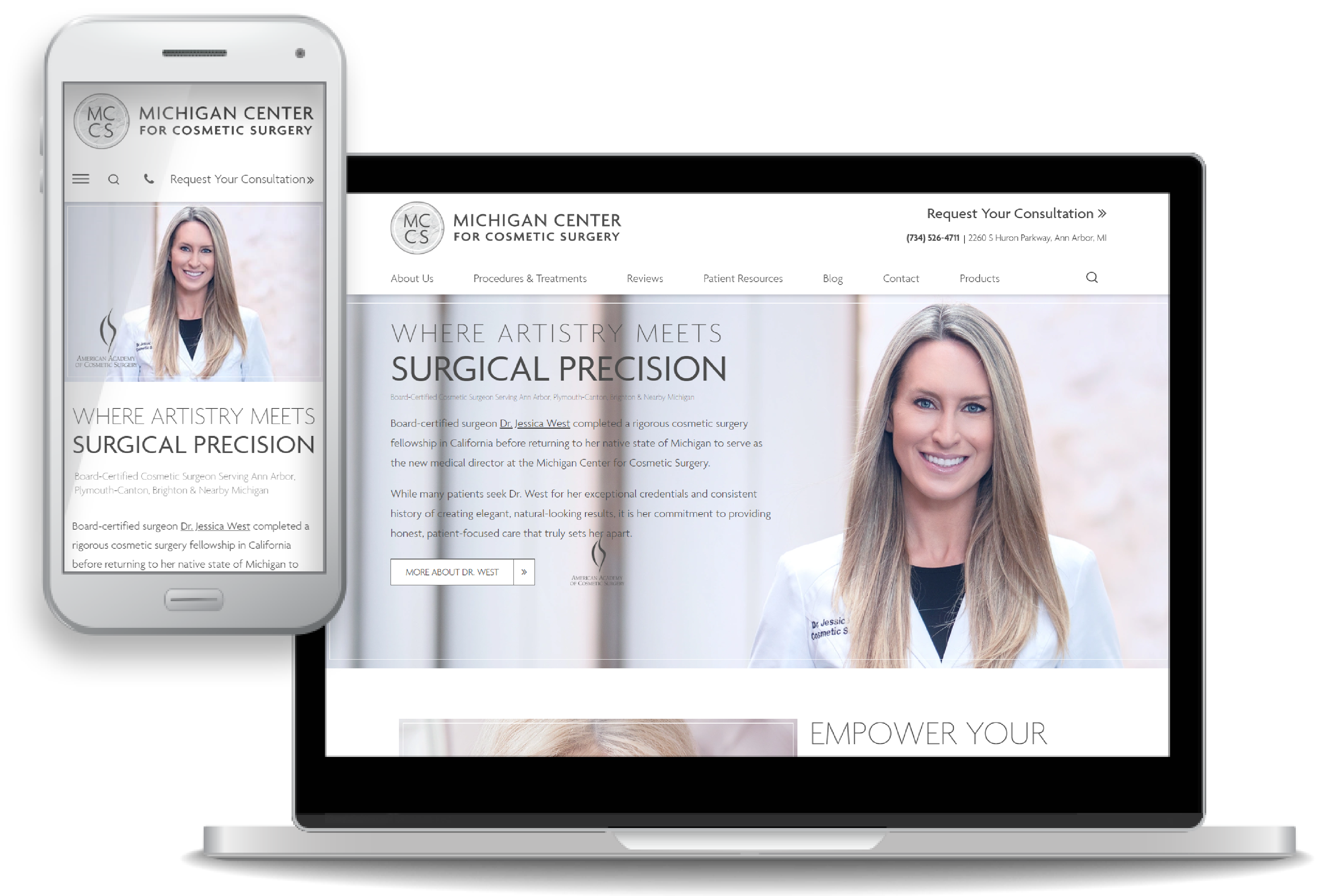 custom website design for Dr. Jessica West and Michigan Center for Cosmetic Surgery