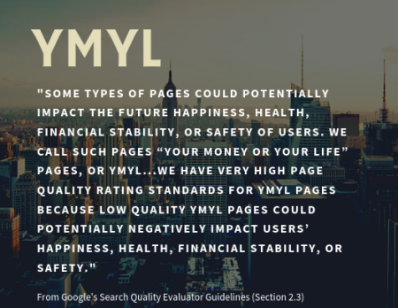 Your Money or Your Life (YMYL) pages - definition by Google