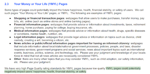 Your Money or Your Life Pages - Google Quality Raters' Guidelines