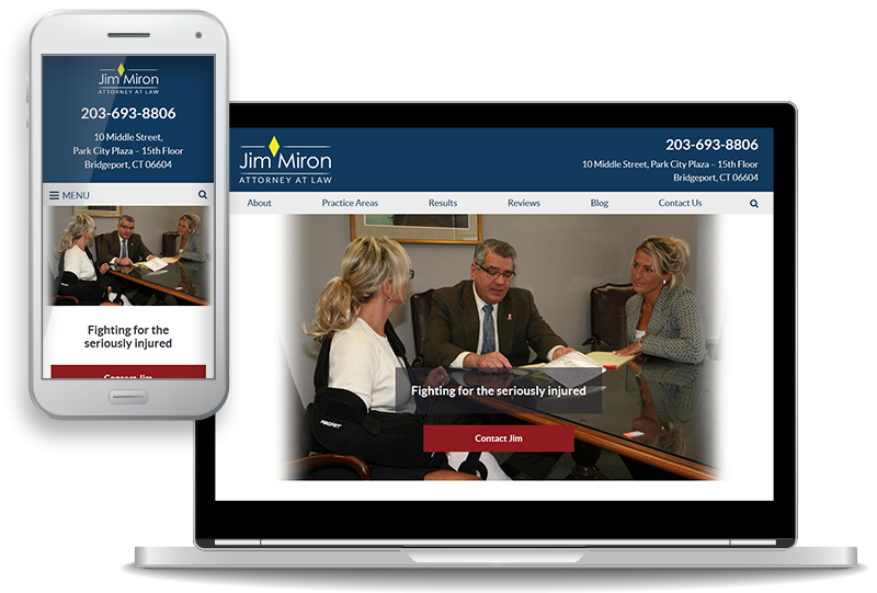 mobile-first website for Jim Miron, Attorney at Law