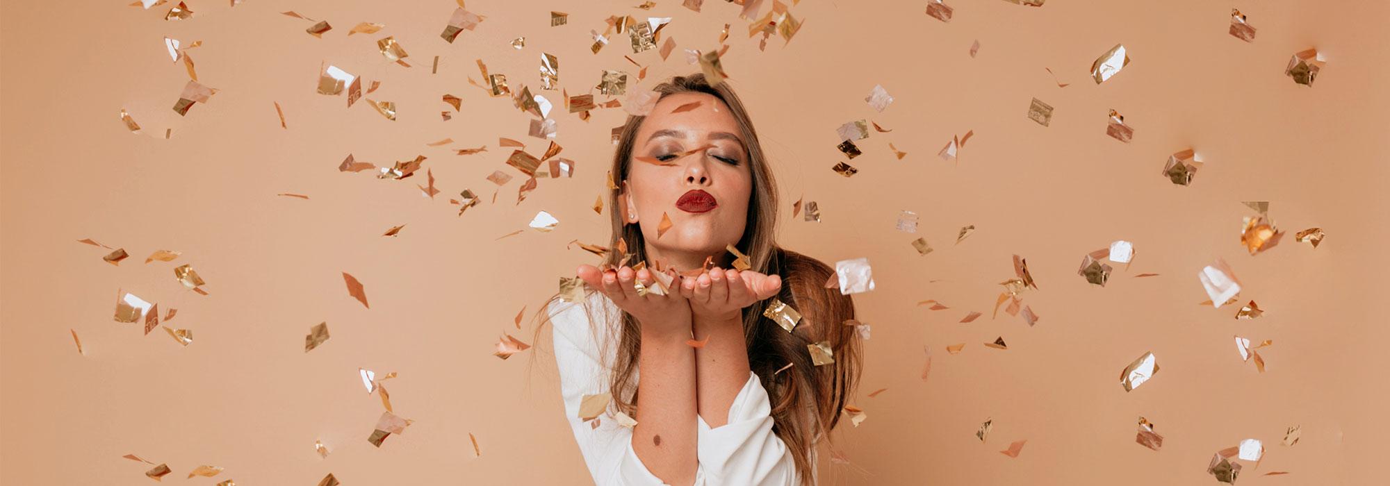 woman and confetti