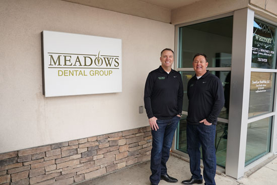 Doctors O'Leary and Peppler - Front of Meadows Dental Group - Lone Tree, CO