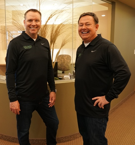 Dr. Scott Peppler and Dr. Joseph O'Leary in the lobby of Meadows Dental Group