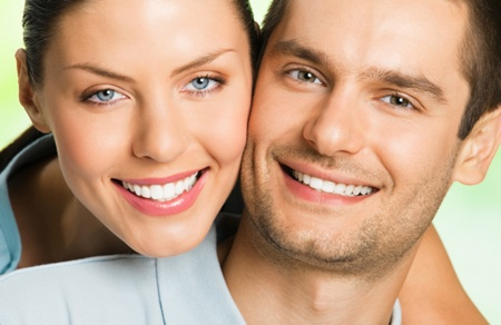 closeup of smiling couple